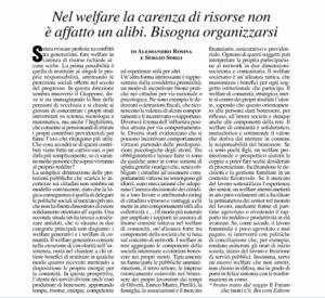 Nel welfare la carenza di risorse non è affatto un alibi. Bisogna organizzarsi