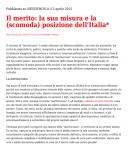 Il Meritometro e la (scomoda) posizione dell'Italia
